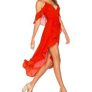 GEORGETTE WRAP DRESS IN POPPY RED